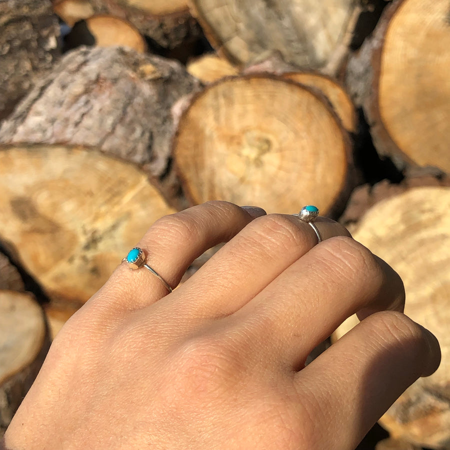 Dainty Turquoise Oval Ring