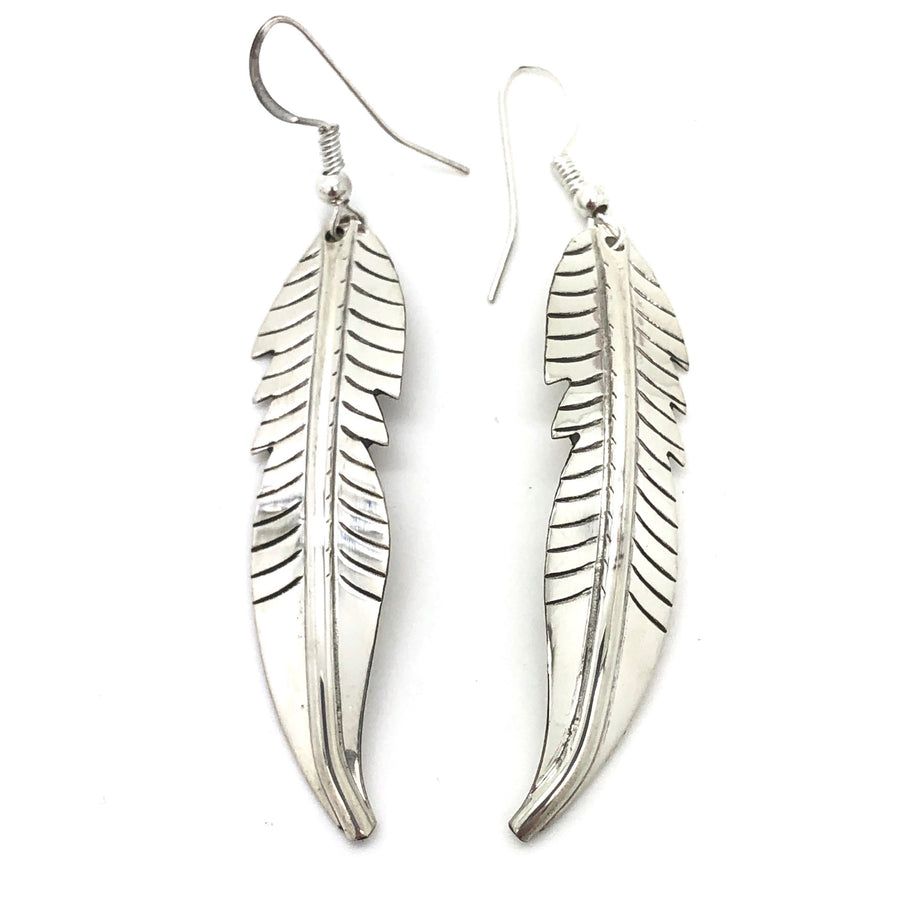 Dainty Sterling Feather Earrings