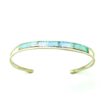 White Opal Inlay Band