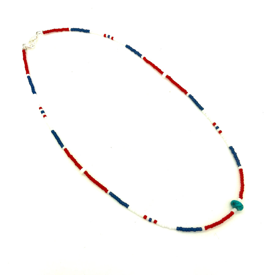 Dainty Red White & Blue Beaded Necklace