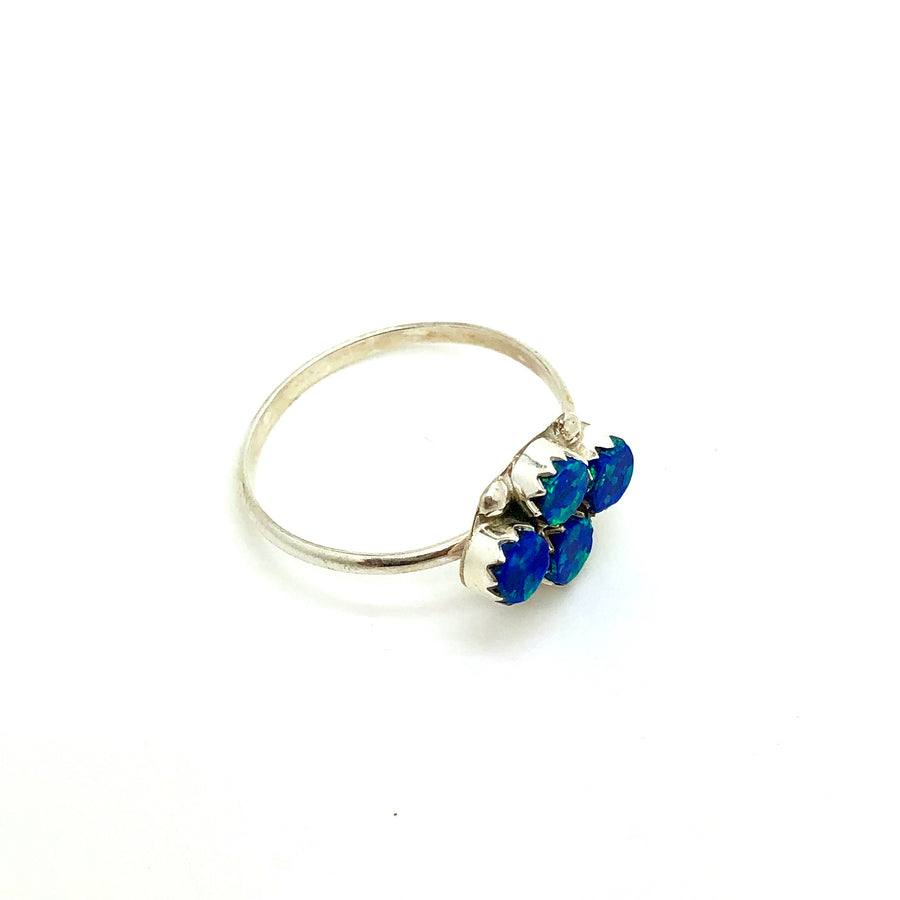 Cluster Blue Opal Ring