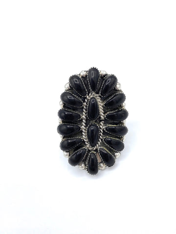 Black Onyx Cluster Ring