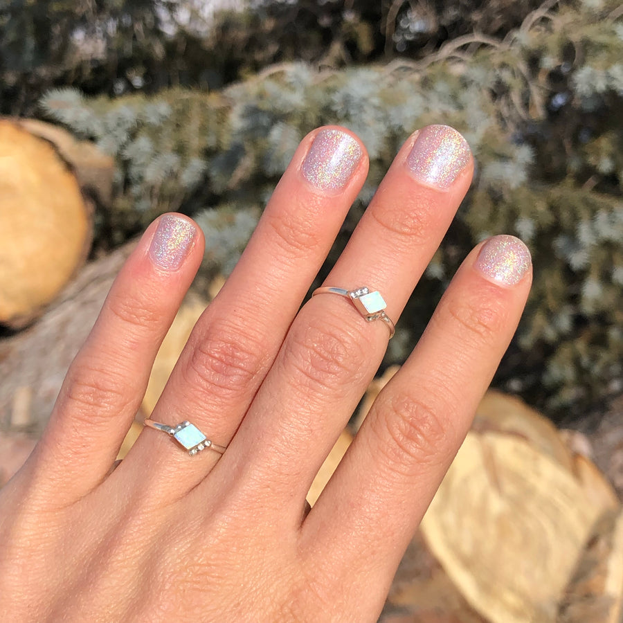 Dainty White Opal Ring