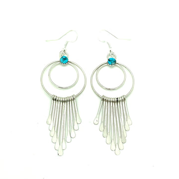 Turquoise Nugget Fringe Earrings