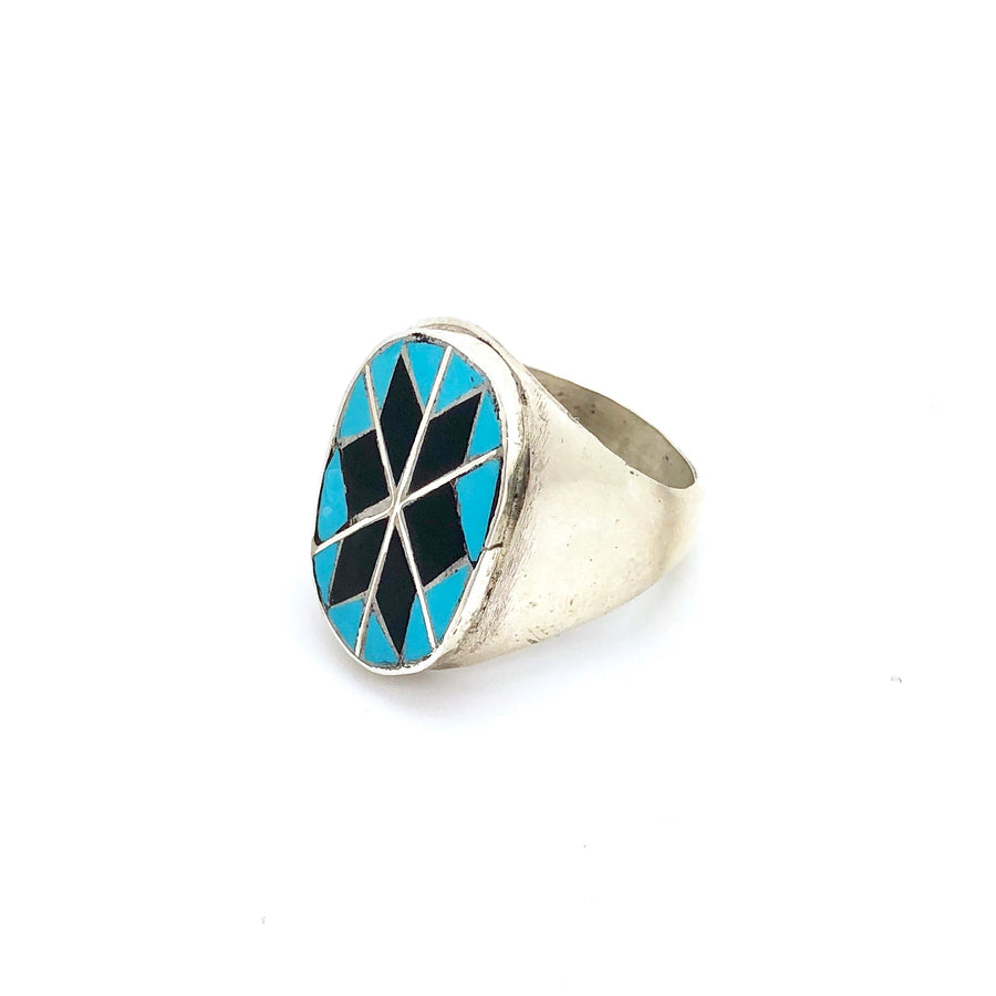 Turquoise and Black Onyx Ring