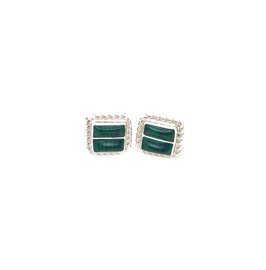 Square Malachite Studs
