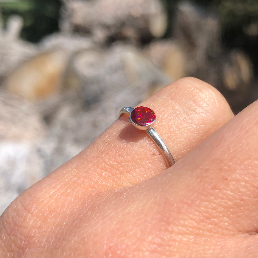 Dainty Red Opal Ring