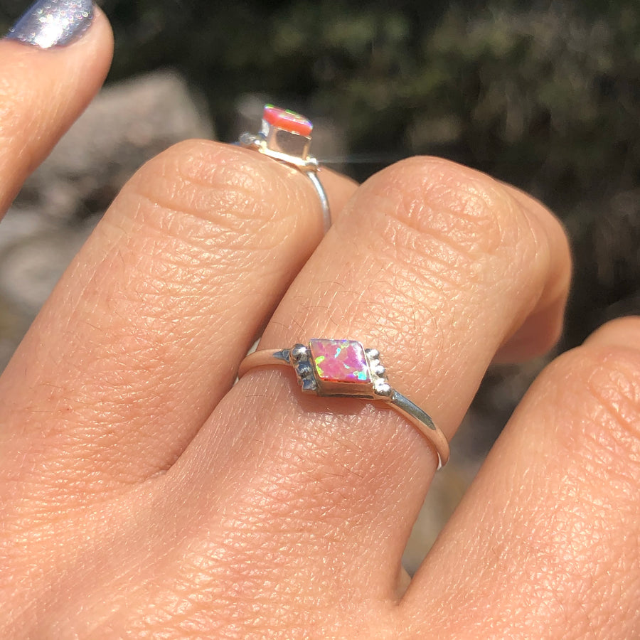 Dainty Light Pink Opal Ring