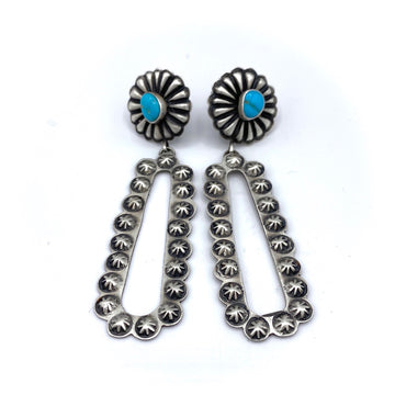 Brushed Silver & Turquoise Earrings