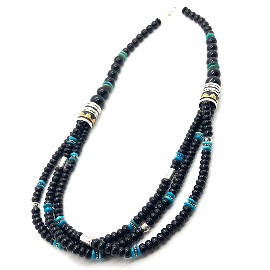 Onyx and Turquoise Singer Necklace