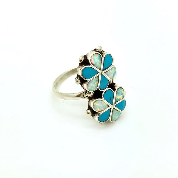 Turquoise and Opal Flower Ring