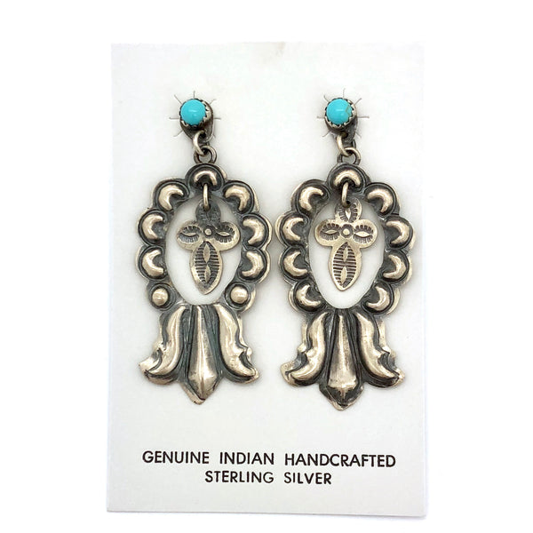 Brushed Sterling Silver Cross and Turquoise Earrings
