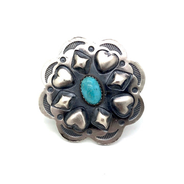 Brushed Silver & Turquoise Ring