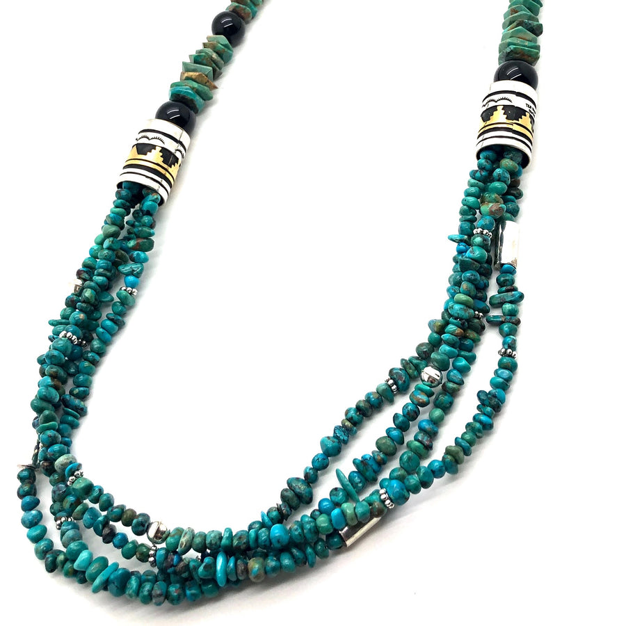 Turquoise and Onyx Singer Necklace