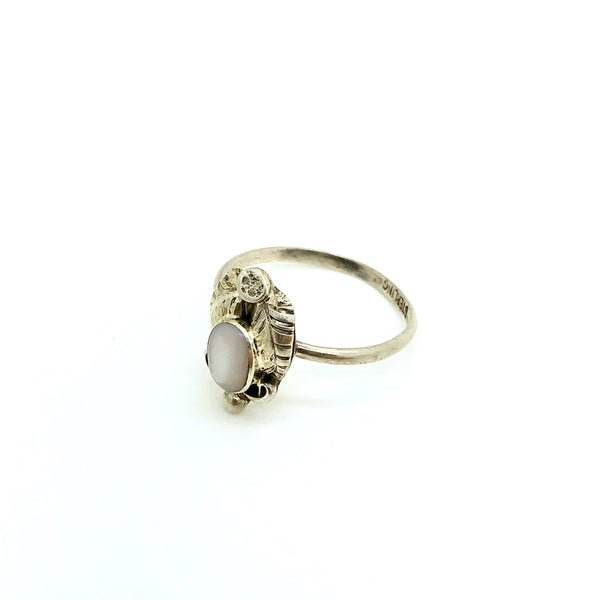 Dainty White Shell and Feather Ring