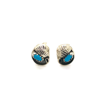 Turquoise & Feather Stud Earrings