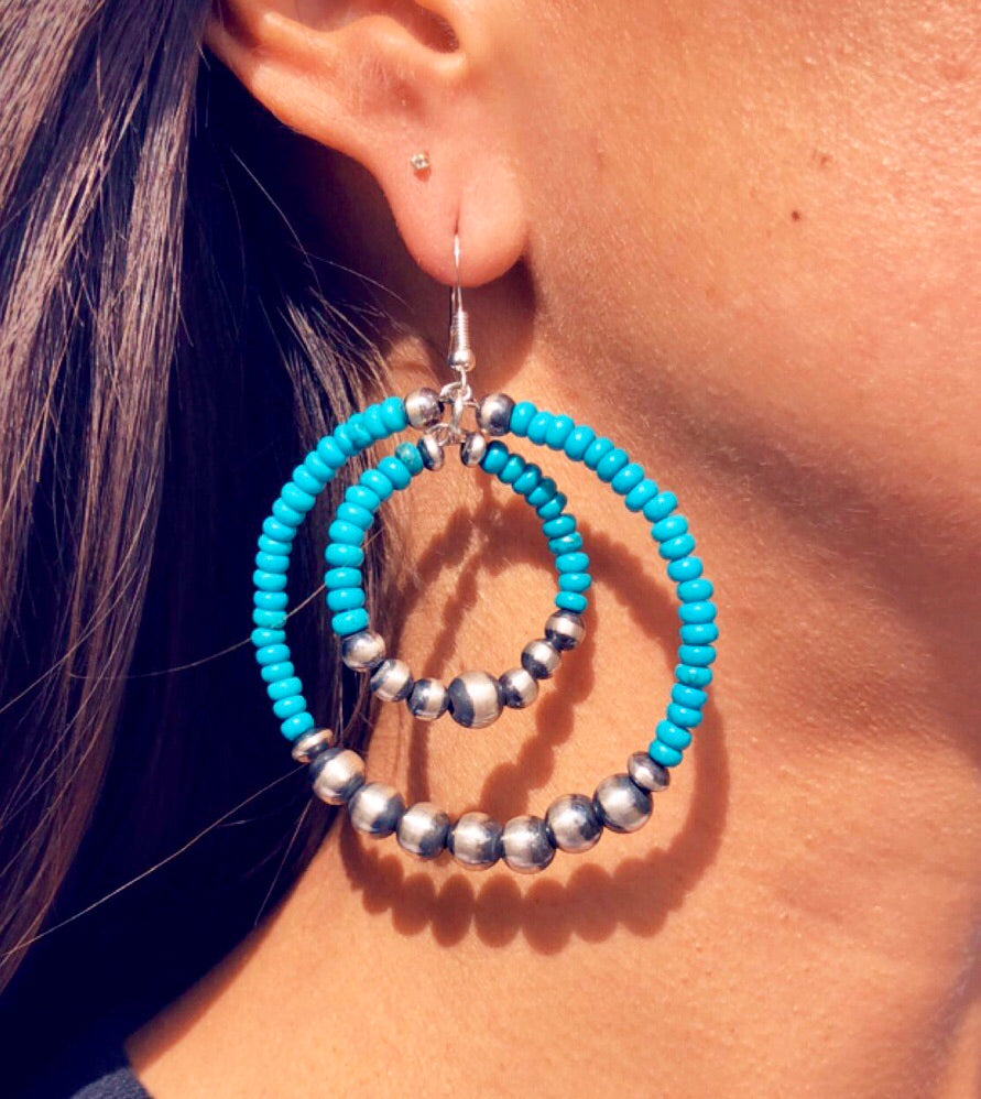 Navajo Pearls & Turquoise Hoop Earrings