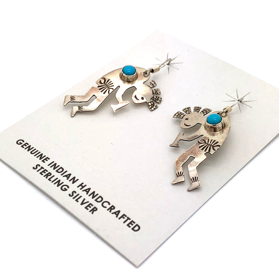 Kokopelli and Turquoise Earrings