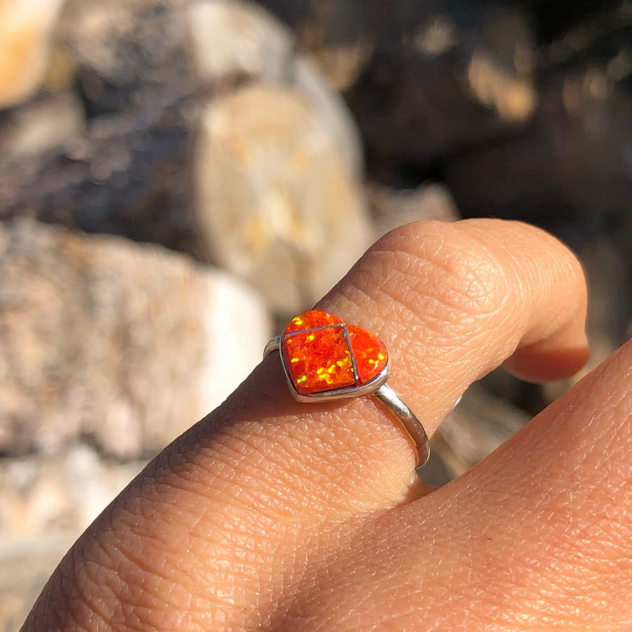 Orange Opal Heart Ring