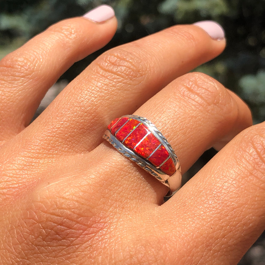 Red Sunset Opal Ring