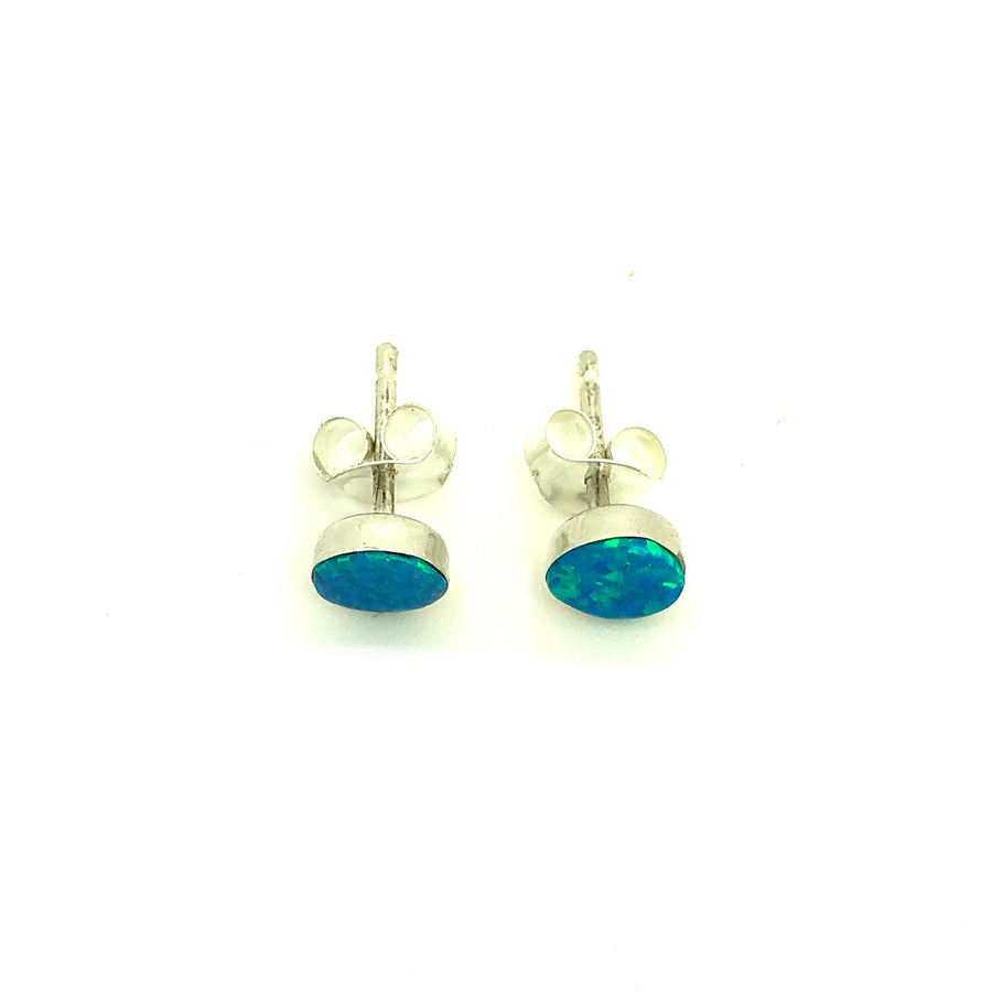 Dainty Light Blue Opal Studs