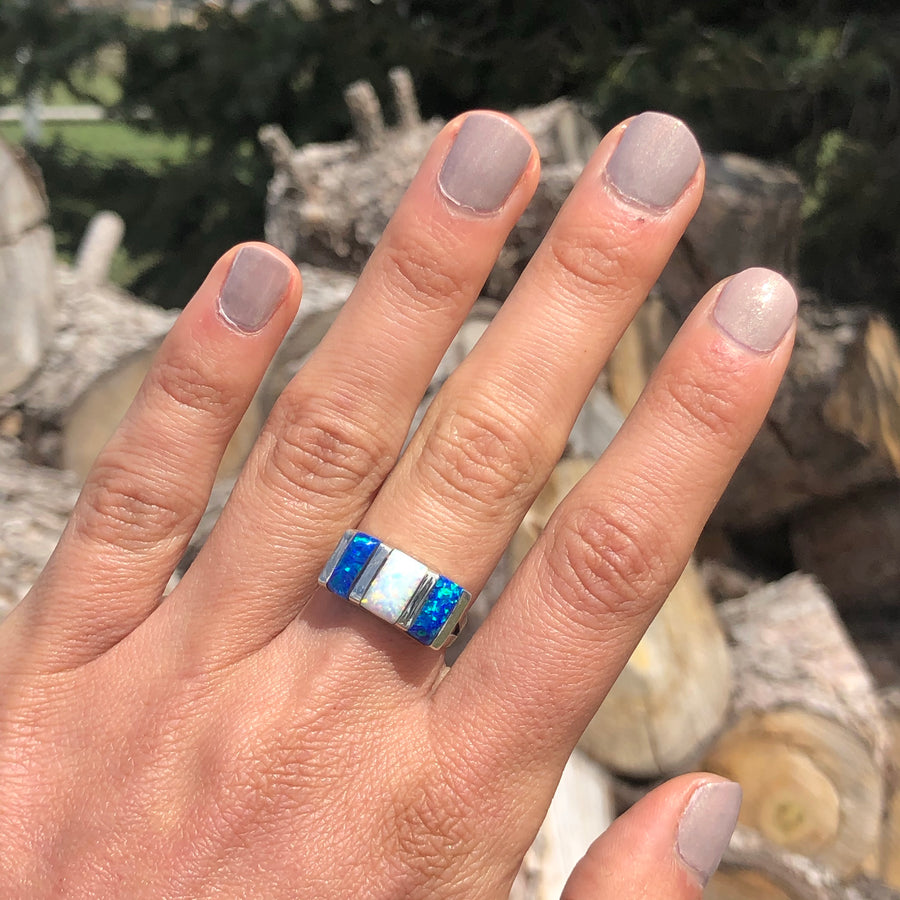 Blue and White Opal Bar Ring