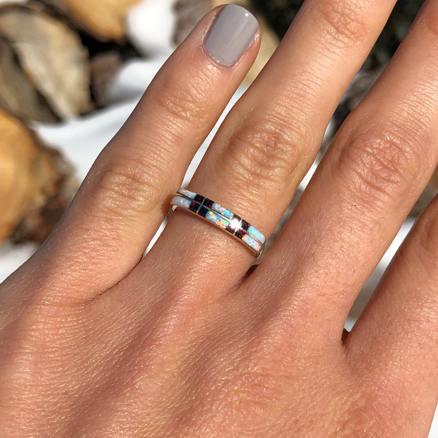 White and Dark Opal Band