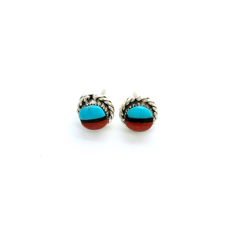 Turquoise and Coral Round Studs