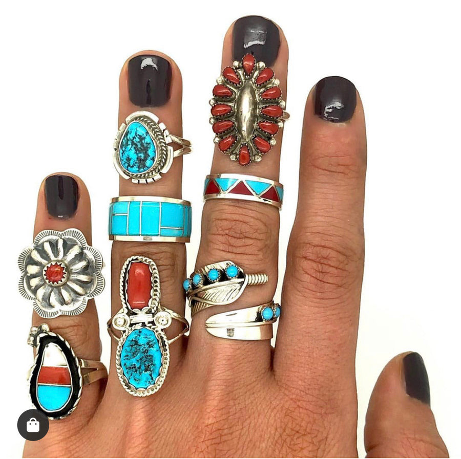 Turquoise Feather Wrap-around Ring