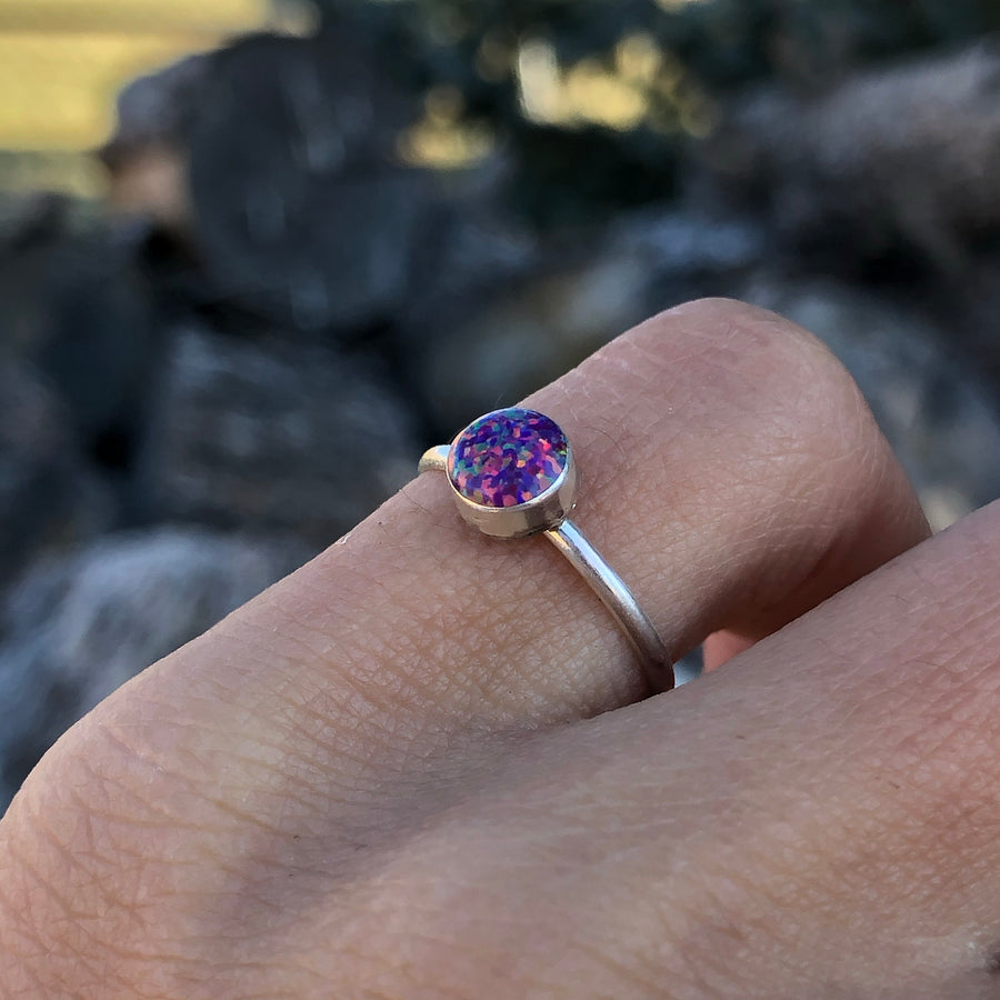 Dainty Purple Opal Ring