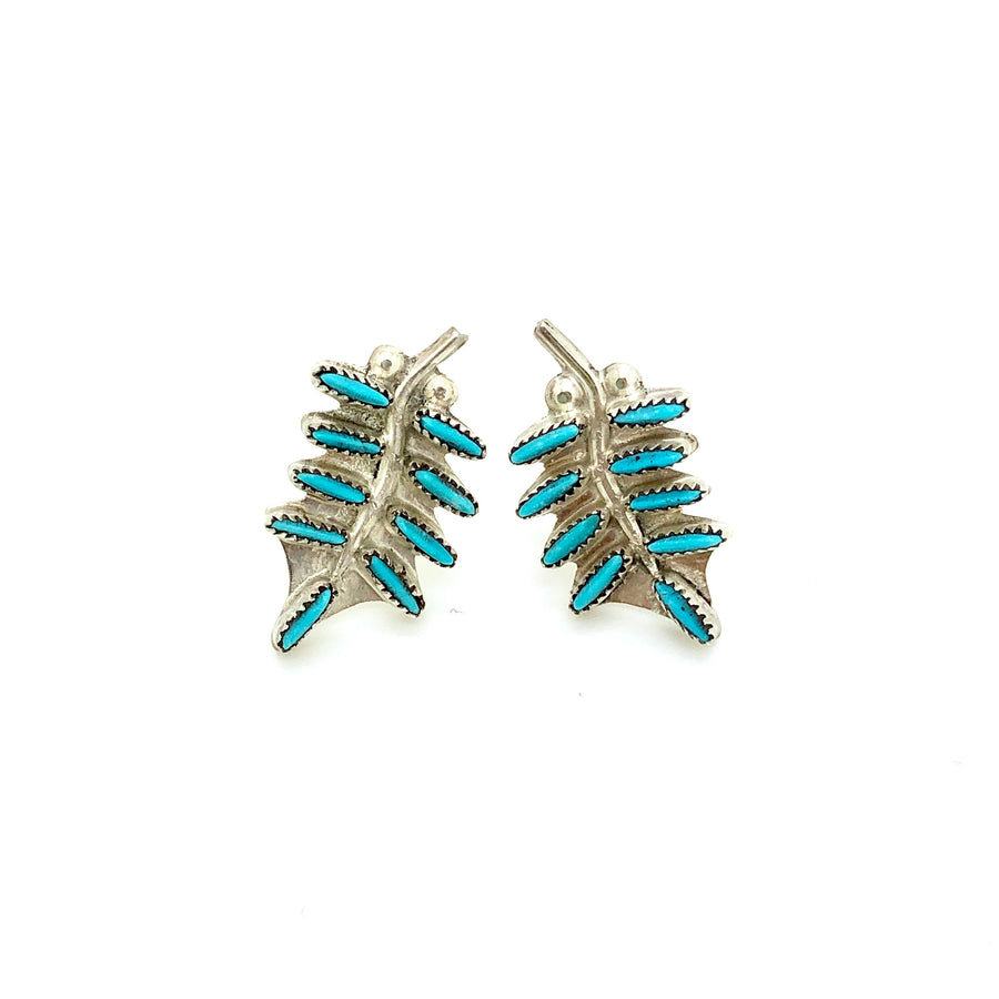 Dainty Feather Turquoise Studs