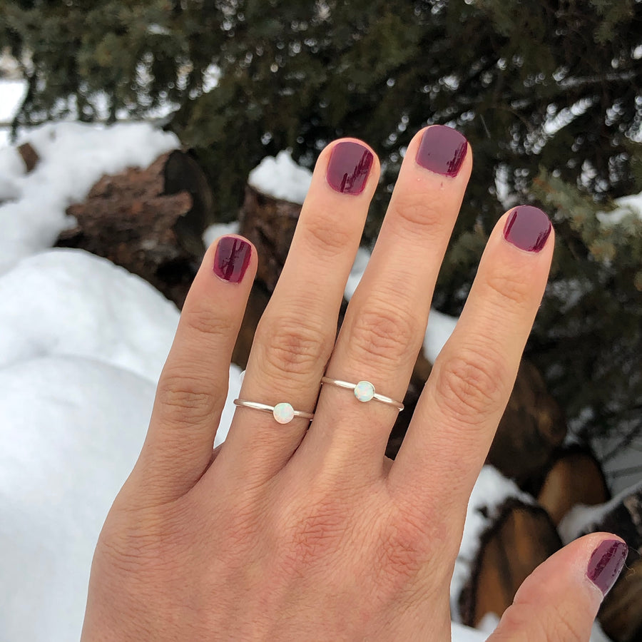 Dainty White Sky Opal Ring