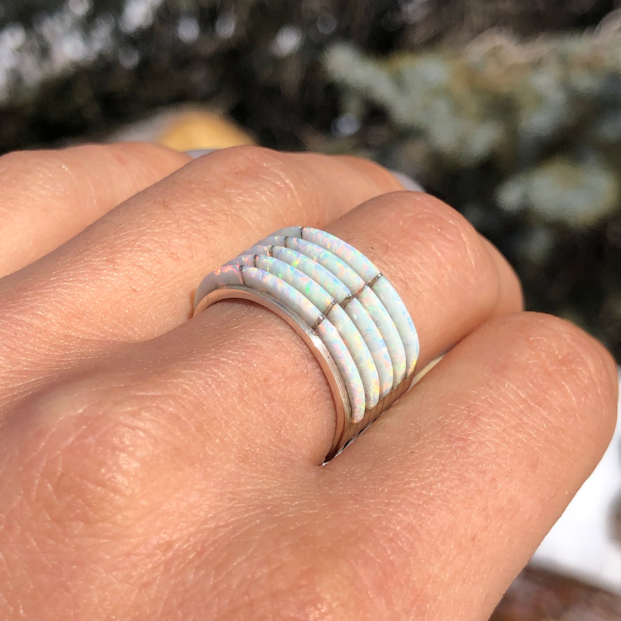 White Opal Tier Ring