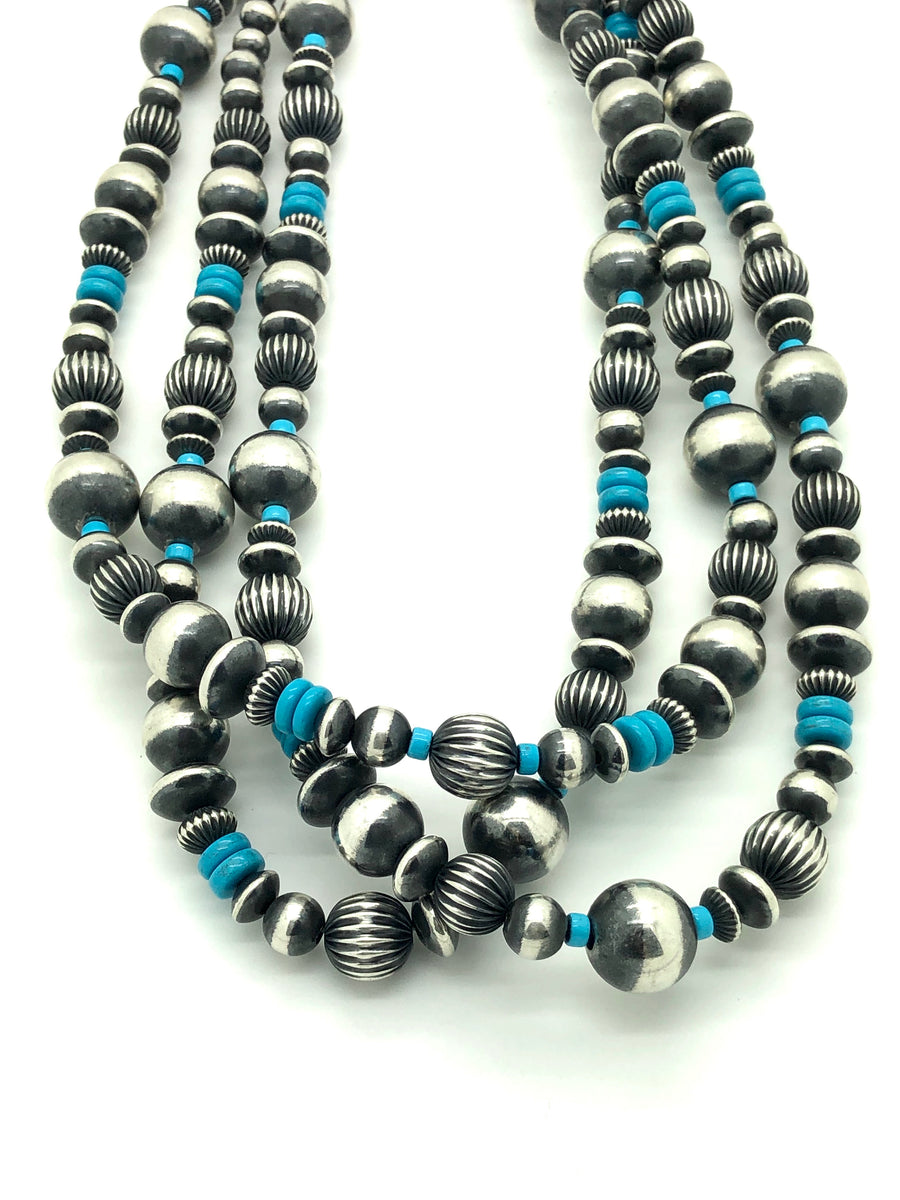 Long Navajo Pearls and Turquoise Necklace