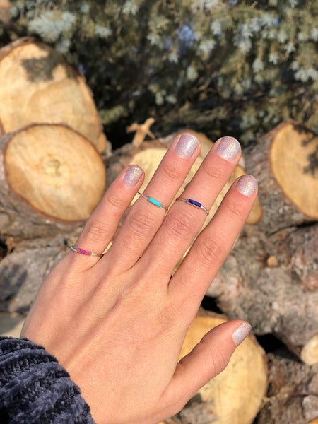 Dainty Pink Opal Bar Ring