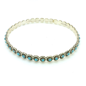 Turquoise Dot Bangle Cuff
