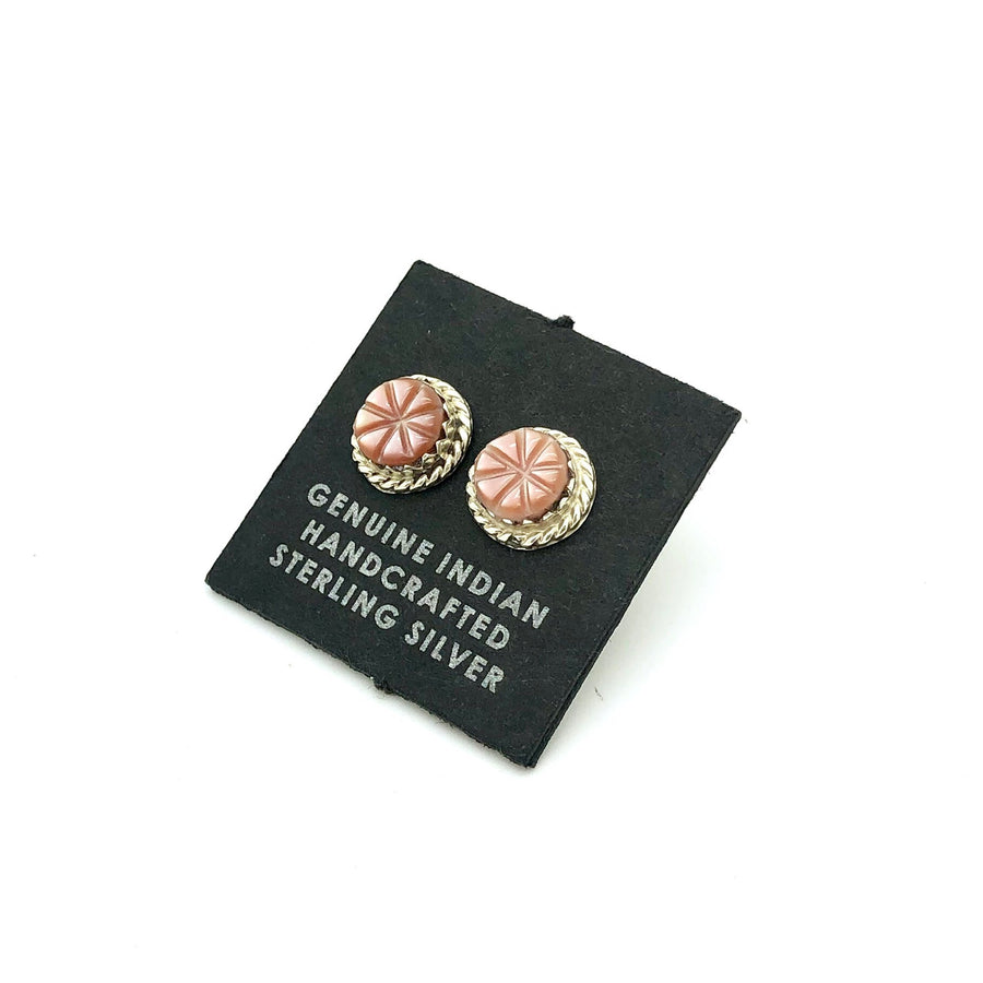 Pink Shell Flower Stud