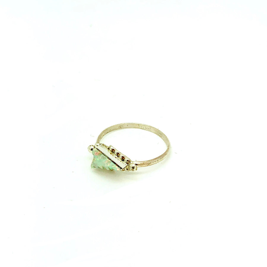 White Opal Arrow Ring