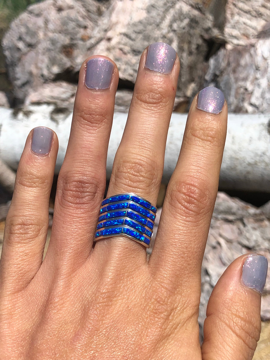 Blue Opal Stacked Ring