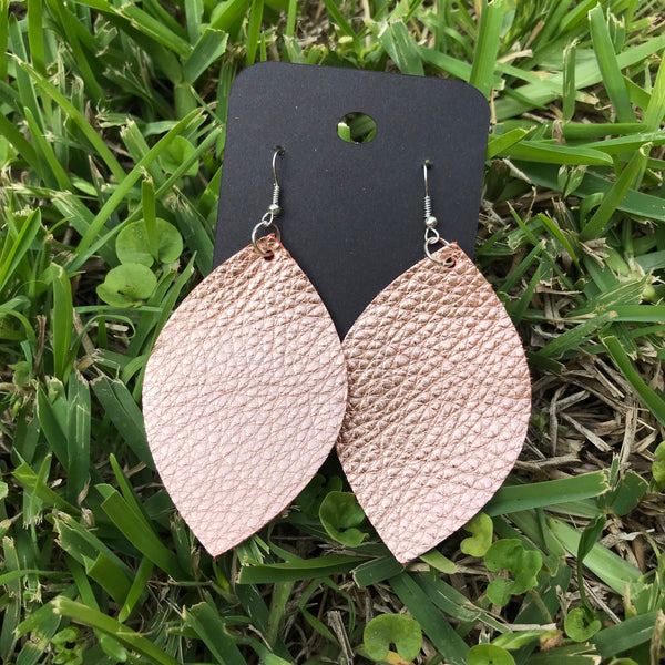 asa rose gold leather earrings