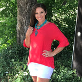 bell sleeve strawberry top