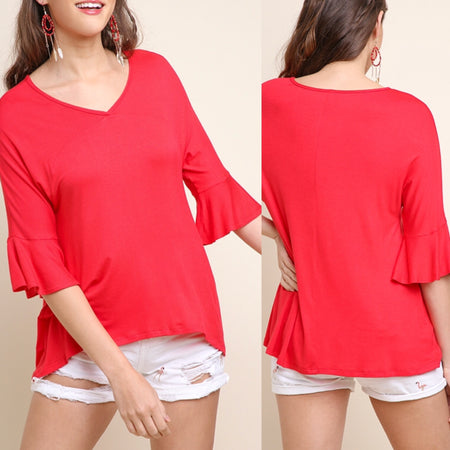 kelly cold shoulder top - strawberry