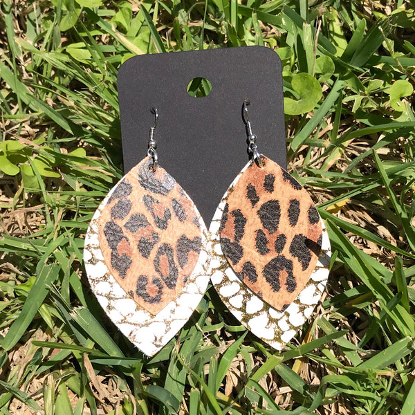 sahara leather earrings