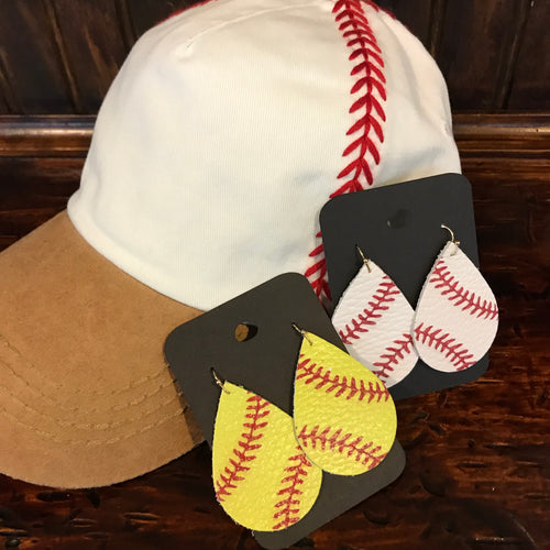 baseball & softball leather earrings