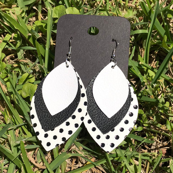 trinity leather earrings
