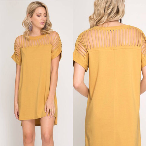 ariana cut-out tunic dress - mustard