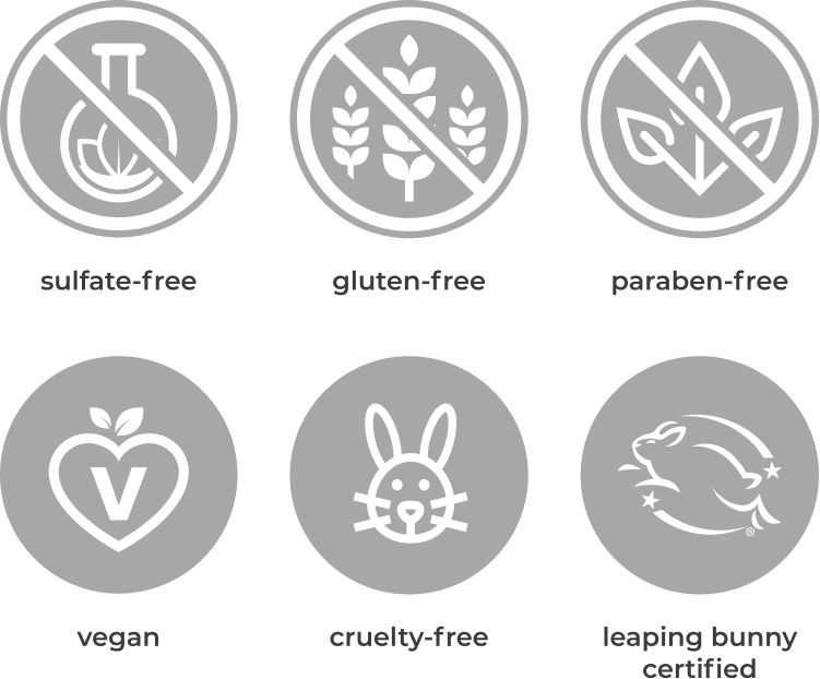 sulfate-free, gluten-free, paraben-free, vegan, cruelty-free, and leaping bunny certified