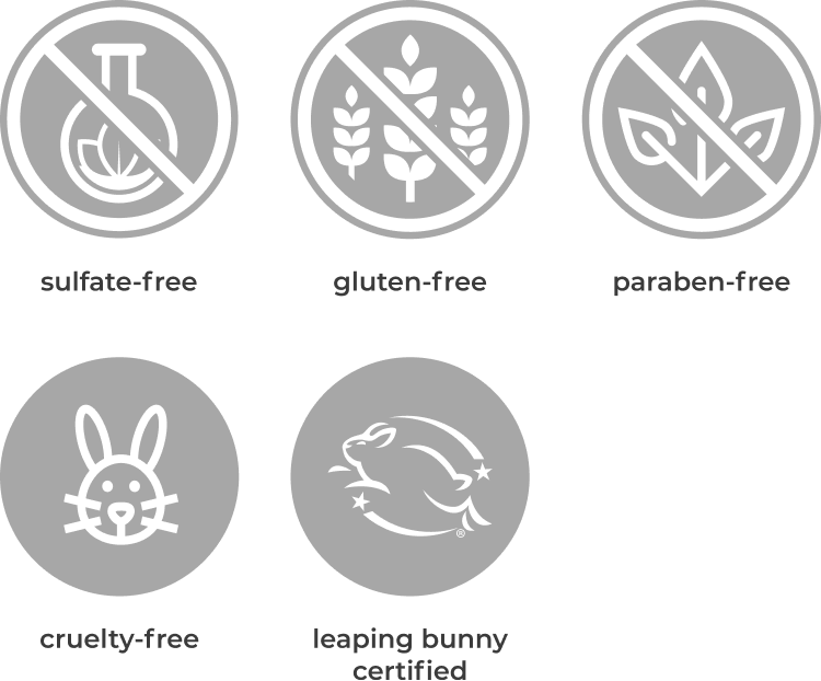 sulfate-free, gluten-free, paraben-free, cruelty-free, and leaping bunny certified