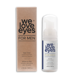 We Love Eyes Tea Tree Eyelid Foaming for MEN box and bottle