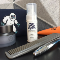 We Love Eyes Eyelid Foaming Cleanser for Men as a part of a men's dopp kit